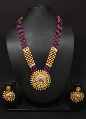 Purple Stone Work Traditional Long Necklace With Earrings