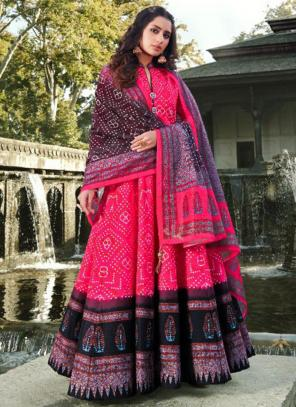 Dark Pink Killer Silk Wedding Wear Digital Printed Gown With Dupatta