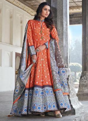 Orange Killer Silk Wedding Wear Digital Printed Gown With Dupatta