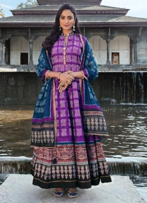 Purple Killer Silk Wedding Wear Digital Printed Gown With Dupatta