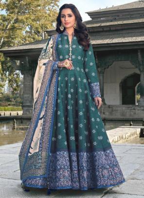 Rama Green Killer Silk Wedding Wear Digital Printed Gown With Dupatta
