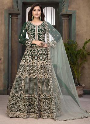 Green Faux Georgette Wedding Wear Embroidery Work Anarkali Suit