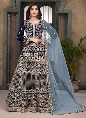 Navy Blue Faux Georgette Wedding Wear Embroidery Work Anarkali Suit