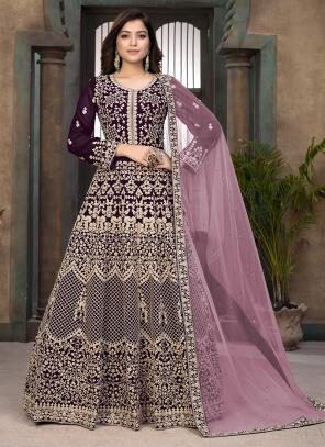 Wine Faux Georgette Wedding Wear Embroidery Work Anarkali Suit