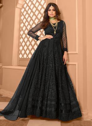 Black Net Reception Wear Embroidery Work Anarkali Suit