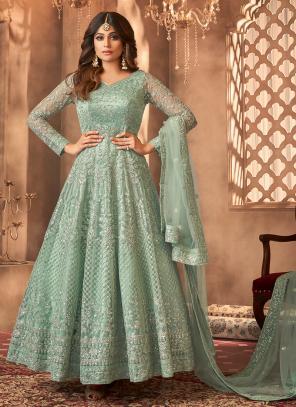 Pista Green Net Reception Wear Embroidery Work Anarkali Suit