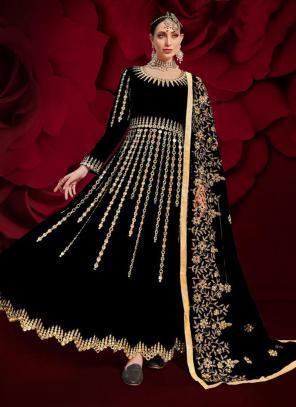 Black Faux Georgette Reception Wear Mirror Work Anarkali Suit