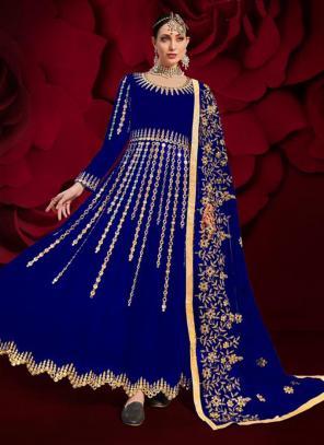 Blue Faux Georgette Reception Wear Mirror Work Anarkali Suit