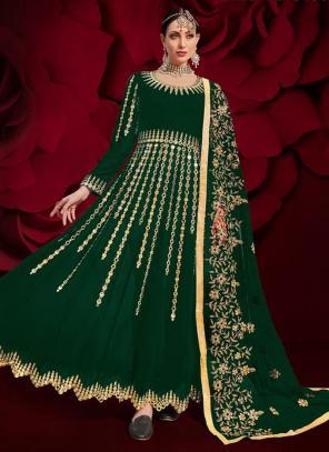 Green Faux Georgette Reception Wear Mirror Work Anarkali Suit