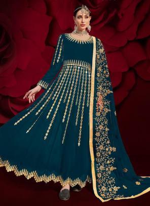 Rama Faux Georgette Reception Wear Mirror Work Anarkali Suit