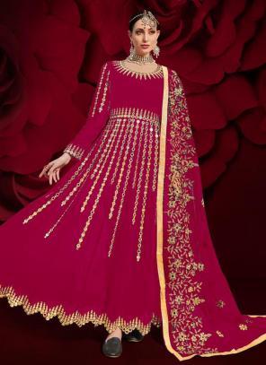 Rani Faux Georgette Reception Wear Mirror Work Anarkali Suit