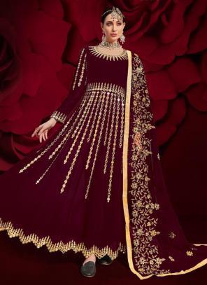 Violet Faux Georgette Reception Wear Mirror Work Anarkali Suit
