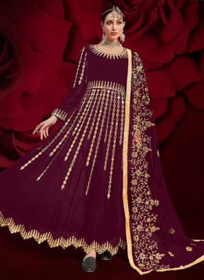 Wine Faux Georgette Reception Wear Mirror Work Anarkali Suit