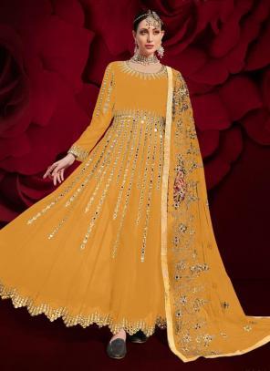 Yellow Faux Georgette Reception Wear Mirror Work Anarkali Suit
