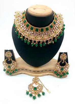 Green Kundan And Stone Multi Piece Necklace Set