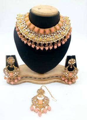 Peach Kundan And Stone Multi Piece Necklace Set