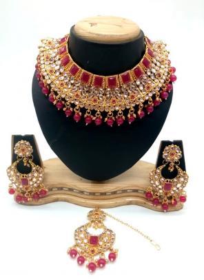 Rani Kundan And Stone Multi Piece Necklace Set