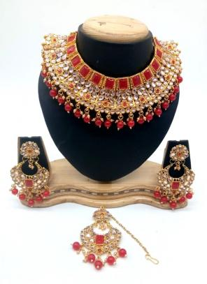 Red Kundan And Stone Multi Piece Necklace Set