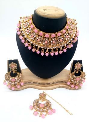 Pink Bridal Kundan Necklace Set With Earrings And Maang Tikka
