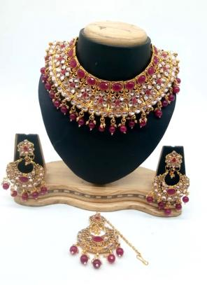 Purple Bridal Kundan Necklace Set With Earrings And Maang Tikka