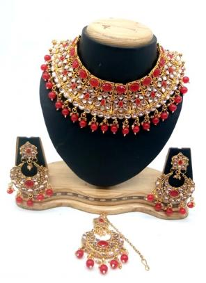 Red Bridal Kundan Necklace Set With Earrings And Maang Tikka