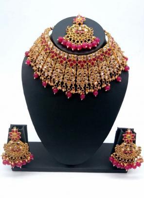 Rani Gold Tone Bridal Kundan Chokar Necklace Set