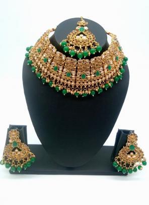 Green Beautiful Stone And Kundan Studded Bridal Necklace Set