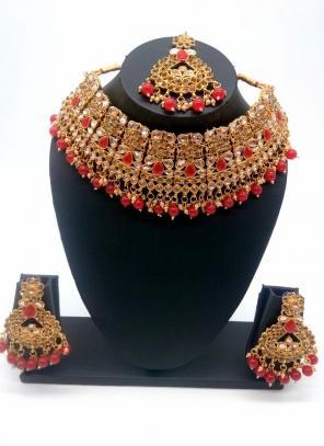 Red Beautiful Stone And Kundan Studded Bridal Necklace Set