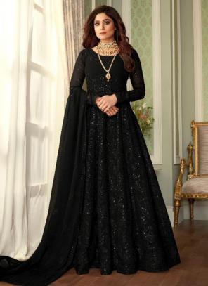 Black Real Georgette Wedding Wear Embroidery Work Anarkali Suit