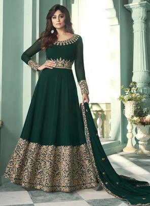 Dark Green Georgette Wedding Wear Embroidery Work Anarkali Suit