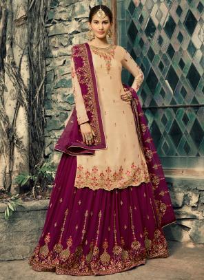 Wedding Wear Beige Georgette Embroidery Work Sharara Suit