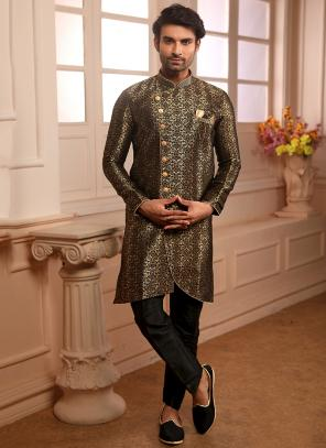 Black Jacqaurd Wedding Wear Weaving Indowestern