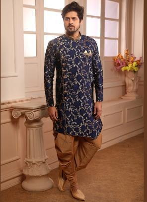Innovative Wedding Wear Blue Jacqaurd Weaving Indowestern