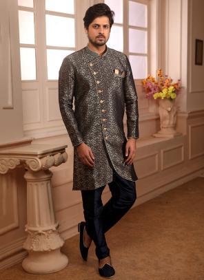 Wedding Wear Blue Jacqaurd Weaving Indowestern