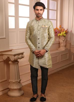 Indowestern Cream Jacqaurd Wedding Wear Weaving Sherwani Style