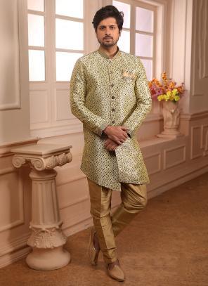 Latest Weaving Jacqaurd Cream Wedding Wear Indowestern Sherwani
