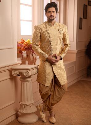 Wedding Wear Golden Jacqaurd Weaving Dhoti Indowestern