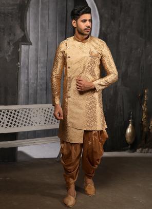 Golden Jacqaurd Weaving Indowestern For Wedding