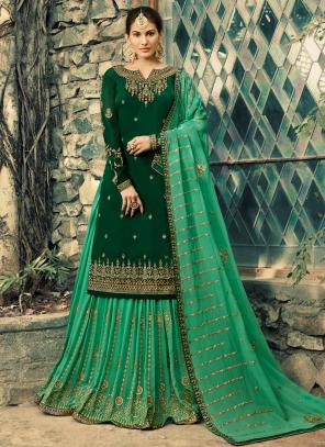 Georgette Wedding Wear Green Embroidery Work Sharara Suit
