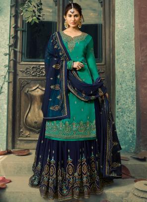 Embroidery Work Green Georgette Wedding Wear Sharara Suit