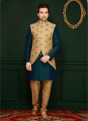 Green Jacqaurd Embroidery Work Wedding Wear Sherwani Style