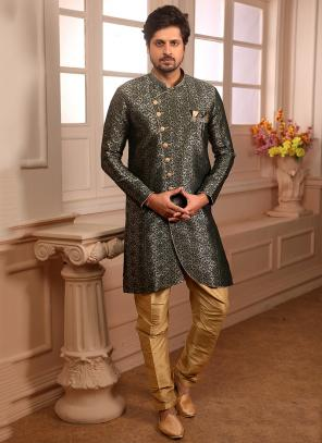 Weaving And Designer Indowestern Wedding Wear Green Jacqaurd