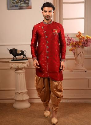 Wedding Wear Red Jacqaurd Weaving Indowestern