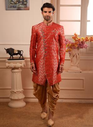 Jacqaurd Red Wedding Wear Weaving Indowestern