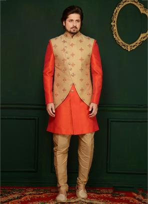 Party Wear Orange Banarasi Silk Embroidery Work Sherwani