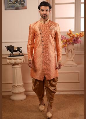 Orange Jacqaurd Wedding Wear Weaving Indowestern