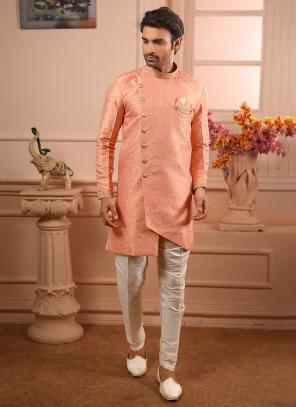 Peach Jacqaurd Wedding Wear Weaving Indowestern