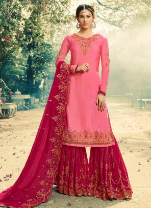 Georgette Wedding Wear Pink Embroidery Work Sharara Suit