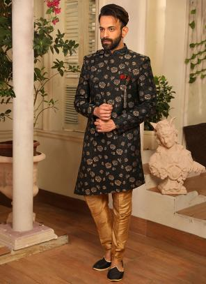 Black Jacquard Embroidery Work Reception Wear Sherwani Style