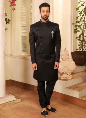 Black Reception Wear Jacquard Work Sherwani Style Suit